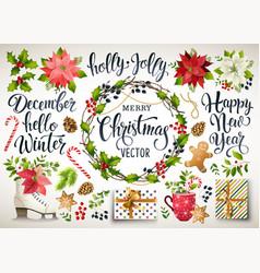 christmas set design composition of poinsettia vector image