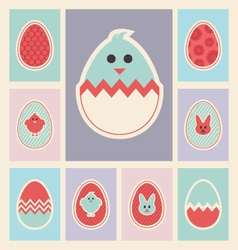 Easter eggs and Icons set vector image
