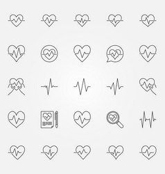 heartbeat icons set - cardiac cycle line vector image