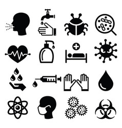 Infection virus - health icons set vector image vector image