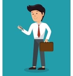 man using smartphone icon vector image