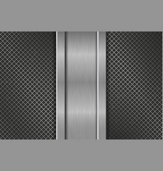 metal perforated background with steel vertical vector image