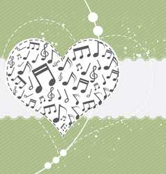 music in heart background vector image vector image