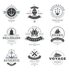 Nautical logos templates set vector