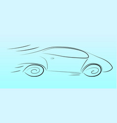 silhouette of a speeding car vector image vector image