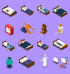 sleep time isometric icons set vector image