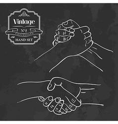 Vintage chalkboard hand shake vector image