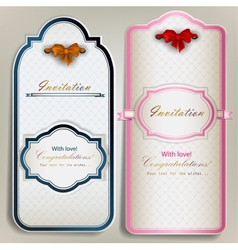 Card notes with ribbons Vintage invitations vector image