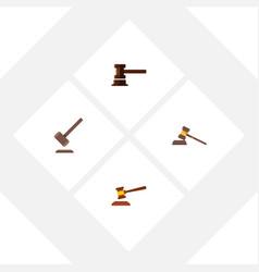 flat icon hammer set of court tribunal vector image