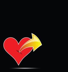 heart with arrow color vector image
