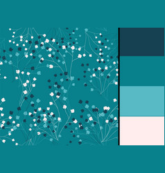seamless pattern with blue floral stylized vector image vector image