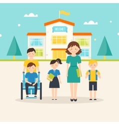 Teacher and Young Students near School vector image