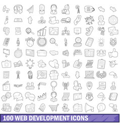 100 web development icons set outline style vector image