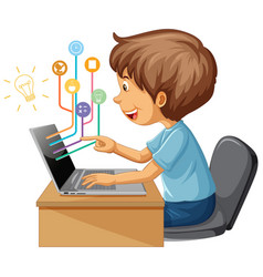 A boy using laptop computer for distance learning vector