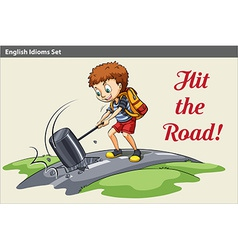 A poster of a boy hitting the road vector image