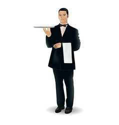 A welcoming waiter character holding serving vector