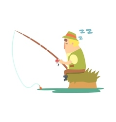 Amateur Fisherman In Khaki Clothes Sleeping On vector