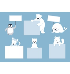 Arctic Animals Characters Show Blank Signs vector