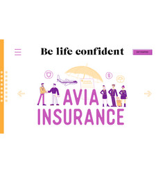 Avia insurance landing page template security and vector