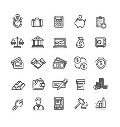 banking and accounting icon black thin line set vector image