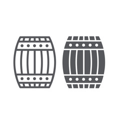 Barrel line and glyph icon container and storage vector