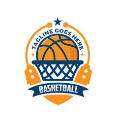 Basketball emblem logo design vector