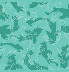 Blue green koi fish cut outs layered with lineart vector