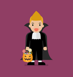 Boy with pumpkin basket dressed in vampire costume vector