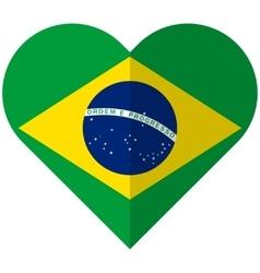 Brazil flat heart flag vector image