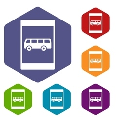 Bus stop sign icons set vector image