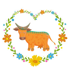 Card with lovely cute pattern cow in the heart of vector