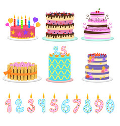 cartoon color birthday cakes and elements icon set vector image