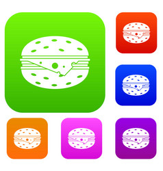 Cheeseburger set collection vector