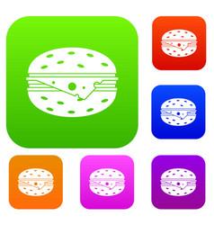 cheeseburger set collection vector image