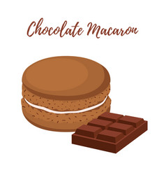 Chocolate macaron with meringue cream vector