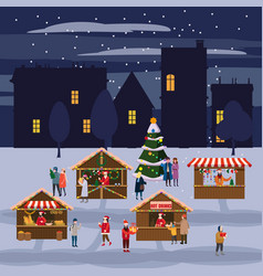 Christmas market or holiday outdoor fair on town vector