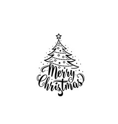 Christmas text xmas tree decoration type vector