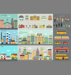 city life and transportation infographic elements vector image