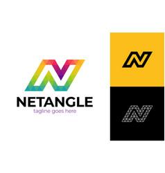colorful letter n logo design for business vector image