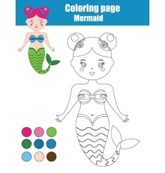 Coloring page with mermaid Children educational vector