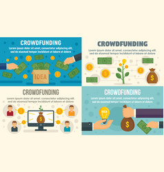 Crowdfunding invest banner set flat style vector