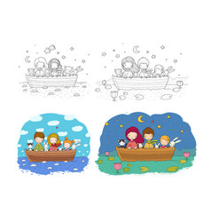 Cute cartoon sisters swim in a boat with hares a vector
