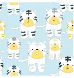 cute cartoon tiger seamless pattern vector image