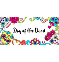 day dead invitation card sugar skulls with vector image