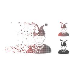Disintegrating pixel halftone fool boy icon vector