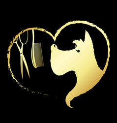 dog in heart scissors and comb vector image