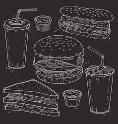 doodle set fast food hamburger hot dog vector image