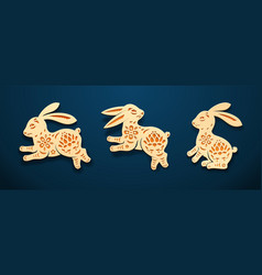 Eastern bunny or rabbit hare animal paper art vector