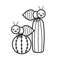 Exotic cactu with ants kawaii character vector