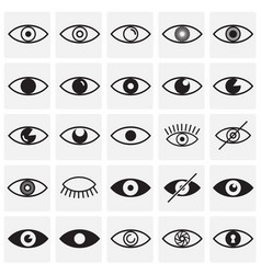 Eye icons set on squares background for graphic vector
